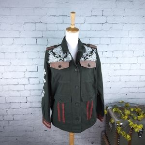 Driftwood Embroidered Military Jacket Olive S & M